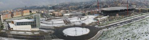 Panorámica de Bilbao nevado desde el barrio de Mirivilla